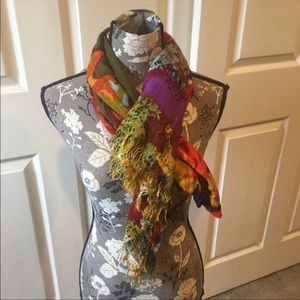Bright Multicolored Large Scarf with fringe detail